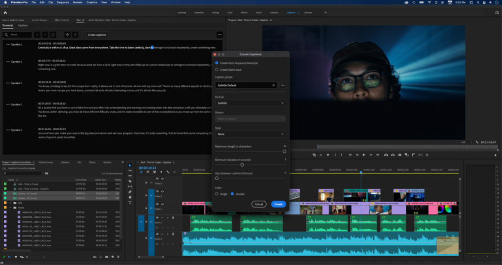 Screen shot of automatic transcription in use on Premiere Pro